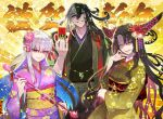 1boy 2girls arrow_(projectile) ashiya_douman_(fate) asymmetrical_hair bangs black_eyes black_hair black_kimono blush breasts card duplicate earrings facial_mark fate/extra fate/extra_ccc fate/grand_order fate_(series) forehead_mark grin hair_between_eyes hair_ribbon highres horns japanese_clothes jewelry kama_(fate/grand_order) kimono large_breasts long_hair long_sleeves looking_at_viewer magatama magatama_earrings multicolored_hair multiple_girls obi parted_bangs purple_kimono red_eyes redrop ribbon sash sesshouin_kiara silver_hair smile sparkle two-tone_hair veil very_long_hair wavy_hair white_hair wide_sleeves yellow_eyes yellow_kimono