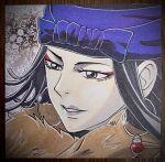 1girl black_hair blue_headband earrings fujidai_(d-works) fur_scarf golden_kamuy grey_lips headband highres hoop_earrings inkarmat jewelry long_hair makeup pale_skin parted_lips portrait solo traditional_media