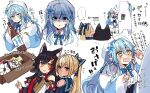 ... 4girls ^^^ ahoge animal_ear_fluff animal_ears bear bell beret black_gloves black_hair black_shirt blonde_hair blue_bow blue_coat blue_dress blue_hair blue_skirt blush bottle bow bowtie box braid breasts cape cardboard_box carrying_under_arm cleavage_cutout closed_eyes closed_mouth clothing_cutout coat collared_shirt commentary crying crying_with_eyes_open daifuku_(yukihana_lamy) dark_skin dark_skinned_female detached_sleeves dress empty_eyes expressionless eyebrows_visible_through_hair fang flower fur-trimmed_coat fur_trim gloves hair_between_eyes hair_bow hair_flower hair_ornament hat heart_ahoge highres holding holding_bottle hololive horns in_box in_container kouhaku_nawa light_blue_hair long_hair looking_at_viewer lying medium_breasts miniskirt multicolored_hair multiple_girls multiple_views nitumaruta notice_lines off_shoulder on_side ookami_mio open_clothes open_coat open_mouth orange_eyes pink_cape plaid_neckwear pointy_ears polar_bear ponytail pout red_eyes redhead sailor_collar sake_bottle shaded_face sheep_ears sheep_horns shiranui_flare shirt side_braid simple_background skirt sleeping smile speech_bubble spoken_ellipsis staring streaked_hair sweatdrop tears tsunomaki_watame two-tone_hair virtual_youtuber wavy_mouth white_background white_dress white_flower white_hair white_shirt wide_sleeves wolf_ears yellow_eyes yukihana_lamy