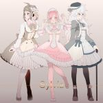 3girls :3 ahoge alternate_costume bangs blush bow bowtie breasts brown_bow brown_dress brown_hair character_name closed_mouth collarbone commentary_request danganronpa_(series) danganronpa_2:_goodbye_despair double-breasted dress frilled_dress frills full_body gradient gradient_background grey_background grey_dress grey_legwear hair_ornament hairband hand_up hands_up heart heart_print highres hinata_hajime layered_dress leg_up light_brown_hair long_sleeves looking_at_viewer medium_breasts medium_hair multiple_girls nanami_chiaki pantyhose pink_bow pink_dress pink_eyes pink_legwear ponytail shoes smile striped striped_dress striped_legwear thigh-highs tuteurfars_shin