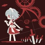 1girl apron back back_bow bat bat_wings black_footwear bow braid chibi cobalta cup dress eyebrows eyebrows_visible_through_hair fang frilled_dress frills gears hair_bow holding holding_cup holding_knife holding_plate holding_teapot holding_weapon izayoi_sakuya knife plate pointy_ears red_background red_dress red_eyes red_theme shadow short_hair silver_hair teapot touhou vampire weapon white_legwear wings