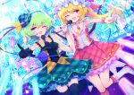 2girls alternate_costume armpits arms_up black_gloves black_legwear blonde_hair blue_eyes blue_headwear blue_skirt boots commentary dress dutch_angle eyebrows_visible_through_hair fang feet_out_of_frame flandre_scarlet gloves glowstick green_hair hat hat_ribbon heart_facial_mark highres holding holding_microphone idol knee_boots komeiji_koishi layered_dress microphone mini_hat mob_cap multiple_girls necktie one_eye_closed one_side_up open_mouth outstretched_hand petticoat pink_skirt pink_vest plaid_headwear pointing pointing_at_viewer red_eyes ribbon shirt short_hair skirt sleeveless sleeveless_dress stage stage_lights standing standing_on_one_leg thigh-highs third_eye tomoe_(fdhs5855) touhou v vest white_footwear white_headwear wrist_cuffs yellow_neckwear yellow_shirt zettai_ryouiki