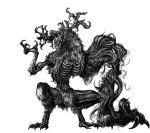 antlers bloodborne claws cleric_beast digitigrade exposed_bone fur greyscale horror_(theme) monochrome monster numenoko prehensile_hair ribs roaring sharp_teeth teeth