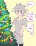 1boy absurdres amputee bandaged_arm bandages bangs black_pants character_print christmas_ornaments christmas_tree collarbone commentary_request danganronpa_(series) danganronpa_2:_goodbye_despair grey_hair grey_shirt hair_between_eyes highres komaeda_nagito male_focus messy_hair open_mouth pants shirt short_sleeves simple_background sin11111 smile snowflake_ornament solo standing t-shirt usami_(danganronpa)