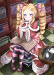 1girl absurdres bangs beatrice_(re:zero) blonde_hair blush book book_on_lap book_stack bookshelf bow capelet checkered checkered_floor commentary crown cup dress drill_hair frilled_dress frills fur_trim hair_bow highres holding holding_cup kuma_piv long_sleeves looking_at_viewer neck_ribbon open_book pantyhose parted_bangs pink_bow pink_footwear re:zero_kara_hajimeru_isekai_seikatsu red_dress ribbon sidelocks sitting solo striped striped_legwear table tea teapot twin_drills wide_sleeves