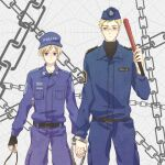 2boys axis_powers_hetalia baseball_cap baton belt belt_buckle black_belt black_sweater blonde_hair blue_jacket blue_pants breast_pocket buckle chain collared_jacket commentary_request cuffs fingerless_gloves finland_(hetalia) finnish_text garrison_cap glasses gloves green_eyes handcuffs hat holding_hands insignia jacket lannyhikari looking_at_another looking_at_viewer multiple_boys pants pocket police police_uniform short_hair shoulder_strap sweater sweden_(hetalia) swedish_text swedish_uniform tre_kronor turtleneck turtleneck_sweater uniform violet_eyes whistle