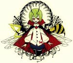 1girl antennae arthropod_legs bee black_cape black_legwear blue_shorts boku_(isizakitakasi) bow bug cape centipede commentary cowboy_shot cropped_legs green_hair grin high_collar insect insect_wings long_sleeves looking_at_viewer red_bow red_cape red_eyes sharp_teeth shirt short_hair shorts smile solo teeth thigh-highs touhou traditional_media two-sided_cape two-sided_fabric white_shirt wings wriggle_nightbug