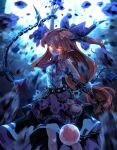 1girl arm_up belt blue_skirt blue_theme bow chain commentary cube cuffs debris destruction eyebrows_visible_through_hair feet_out_of_frame glowing glowing_eyes gourd grin hair_bow highres horn_ornament horn_ribbon horns ibuki_suika layered_skirt long_hair looking_at_viewer low-tied_long_hair motion_blur orange_eyes orange_hair pointy_ears pyramid_(geometry) ribbon shackles shirt skirt sleeveless sleeveless_shirt smile solo sphere standing sunyup touhou very_long_hair white_shirt