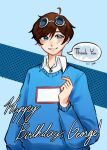 1boy blue_eyes blue_shirt blush brown_hair character_name dream_smp georgenotfound goggles goggles_on_head happy_birthday looking_at_viewer male nayhan227_(pixiv_id_6796211) shirt smile solo speech_bubble sweater text thank_you youtube