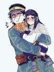 1boy 1girl ainu ainu_clothes asirpa bandana belt black_hair black_headwear blue_coat blue_eyes blue_hair blush brown_belt brown_eyes buttons cape closed_mouth coat eyeshadow full_body fur_cape golden_kamuy hat highres holding_another imperial_japanese_army kakiku kepi long_hair long_sleeves looking_at_another looking_at_viewer makeup military military_hat military_uniform nose_blush parted_lips pouch scar scar_on_cheek scar_on_face scar_on_mouth scar_on_nose scarf short_hair sidelocks simple_background spiky_hair standing star_(symbol) sugimoto_saichi sweat two-tone_headwear uniform upper_body white_background white_cape yellow_headwear yellow_scarf