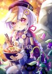 1girl absurdres akira_luca bead_necklace beads blush bowl braid chopsticks coin coin_hair_ornament flower food food_request genshin_impact hair_between_eyes hat highres holding holding_bowl holding_chopsticks jewelry jiangshi light_rays long_sleeves looking_at_viewer meat necklace noodles open_mouth purple_flower purple_hair purple_headwear qing_guanmao qiqi ramen seiza sitting sleeves_past_wrists solo steam stone talisman thigh-highs violet_eyes white_legwear wide_sleeves
