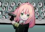 1girl absurdres ahoge ania_(spy_x_family) aoi_sakurako bangs black_jacket collared_shirt commentary_request eyebrows_visible_through_hair green_eyes gun handgun highres holding holding_gun holding_weapon jacket long_hair long_sleeves looking_at_viewer nail_polish parted_lips pink_hair pink_nails pistol shirt smile solo spy_x_family typewriter upper_body weapon weapon_request white_shirt