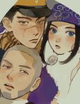 1girl 2boys ainu ainu_clothes asirpa bandana black_eyes black_hair black_headwear blue_bandana blue_eyes blush brown_eyes buzz_cut cape close-up closed_mouth collar commentary_request ear_piercing earrings eyebrows facial_hair framed friends fur_cape goatee golden_kamuy grey_hair hat highres hoop_earrings imperial_japanese_army jewelry kepi lips long_hair looking_at_viewer military military_hat military_uniform morikomori multiple_boys open_mouth parted_lips piercing scar scar_on_cheek scar_on_face scar_on_mouth scar_on_nose scarf shiraishi_yoshitake short_hair sideburns sidelocks simple_background star_(symbol) sugimoto_saichi two-tone_headwear uniform upper_body very_short_hair white_cape yellow_headwear yellow_scarf