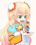 +_+ 2girls :c :d animal_ears bell blonde_hair blue_capelet blue_skirt bun_cover capelet chinese_clothes choker closed_mouth commentary double_bun english_commentary fox_ears fox_tail gradient_hair green_eyes hat holding_person hololive idol jester_cap jingle_bell long_sleeves minigirl momosuzu_nene multicolored_hair multiple_girls neck_ribbon omaru_polka open_mouth red_neckwear red_ribbon ribbon signature simple_background skirt smile tail virtual_youtuber white_background wide_sleeves yoako