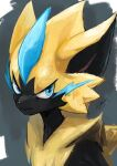 1boy angry animal_ears animal_nose artist_name black_fur blue_eyes blue_fur body_fur cat_boy cat_ears closed_mouth commentary english_commentary furry gen_7_pokemon grey_background half-closed_eyes ikei jpeg_artifacts legendary_pokemon looking_to_the_side male_focus mythical_pokemon pokemon pokemon_(creature) signature simple_background snout solo upper_body whiskers yellow_fur zeraora