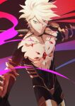1boy armor blue_eyes fate/grand_order fate_(series) highres jewelry karna_(fate) koroponsu3 looking_at_viewer male_focus necklace shirtless simple_background white_hair