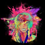 1boy alice_margatroid bangs black_background character_request cookie_(touhou) english_commentary grin hair_between_eyes ichigo_(cookie) long_hair looking_at_viewer lsd male_focus melting multicolored multicolored_eyes multicolored_hair pins psychedelic school_uniform serafuku sharp_teeth shiriri_(cookie) simple_background smile splatter stamp teeth touhou ukhqok upper_body