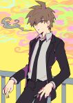 1boy absurdres ahoge bangs belt black_belt black_jacket black_pants brown_eyes brown_hair cigarette collared_shirt commentary_request cowboy_shot danganronpa:_trigger_happy_havoc danganronpa_(series) formal hair_between_eyes highres holding holding_cigarette jacket leaning_back long_sleeves male_focus naegi_makoto necktie official_alternate_costume open_clothes open_jacket open_mouth pants railing shirt short_hair sin11111 smoke smoking solo spiky_hair standing yellow_background