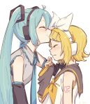 2girls aqua_hair aqua_neckwear arm_warmers bangs bare_shoulders black_sleeves blonde_hair blush bow collar commentary detached_sleeves forehead_kiss from_side grey_collar grey_shirt grey_sleeves hair_bow hair_ornament hairclip hand_on_another's_head hand_up hatsune_miku headphones highres kagamine_rin kiss long_hair m0ti multiple_girls neckerchief necktie sailor_collar shirt short_hair shoulder_tattoo sleeveless sleeveless_shirt smile swept_bangs tattoo twintails upper_body very_long_hair vocaloid wavy_mouth white_background white_bow white_shirt yellow_neckwear yuri