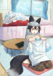 2girls alternate_costume animal_ears barefoot bed brown_pants casual collar commentary_request extra_ears eyebrows_visible_through_hair fox_ears fox_girl fox_tail frilled_collar frills grey_hair hanada_(cobalt003) highres holding holding_clothes holding_shirt kemono_friends long_hair long_sleeves multicolored_hair multiple_girls pants plaid plaid_pants plaid_trim red_sweater seiza shirt silver_fox_(kemono_friends) silver_hair sitting sleeping sweater tail white_hair white_lion_(kemono_friends) white_shirt yellow_eyes