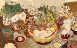artist_name bok_choy bowl closed_eyes commentary egg egg_yolk english_commentary food in_food mushroom no_humans noodles original pig piglet plate red_eyes rice sarah_gavagan shrimp signature sleeping spring_onion steam still_life tofu