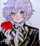 1boy apple bangs black_jacket blue_eyes blush bow brooch center_frills collar collared_shirt diagonal_stripes epel_felmier food frilled_collar frills fruit gloves hair_between_eyes holding holding_food jacket jewelry long_sleeves male_focus night_raven_college_uniform nose_blush purple_hair shirt short_hair smile solo sparkle striped striped_neckwear traditional_media twisted_wonderland watercolor_(medium) white_shirt yumei_(jigoku101)