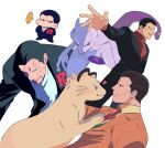 ... 1boy black_hair black_jacket collared_shirt commentary_request formal gen_1_pokemon giovanni_(pokemon) green_(grimy) green_vest highres jacket legendary_pokemon male_focus mewtwo necktie orange_jacket outstretched_arm parted_lips persian pokemon pokemon_(anime) pokemon_(classic_anime) pokemon_(creature) pokemon_(game) pokemon_frlg pokemon_lgpe red_neckwear shirt short_hair smirk spoken_ellipsis spread_fingers suit sweat team_rocket vest yellow_shirt