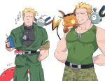 1boy arms_behind_back bare_arms black_shirt blonde_hair closed_mouth collarbone commentary_request dog_tags gen_1_pokemon green_(grimy) green_jacket green_pants green_tank_top highres holding jacket jewelry looking_to_the_side magnemite male_focus necklace on_shoulder pants pokemon pokemon_(creature) pokemon_(game) pokemon_hgss pokemon_lgpe pokemon_on_shoulder raichu shirt short_hair simple_background smile spiky_hair surge_(pokemon) tank_top teeth translation_request voltorb white_background