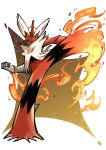 absurdres blaziken clenched_hand closed_mouth colored_sclera commentary_request fire full_body gen_3_pokemon green_eyes highres itcat kicking mega_blaziken mega_pokemon pokemon pokemon_(creature) solo standing standing_on_one_leg yellow_sclera