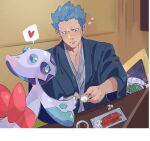 1boy blue_eyes blue_hair blush chopsticks closed_mouth commentary_request cyrus_(pokemon) fingernails froslass gen_3_pokemon gen_4_pokemon green_(grimy) heart highres holding indoors japanese_clothes male_focus plate pokemon pokemon_(creature) pokemon_(game) pokemon_dppt snorunt spiky_hair spoken_heart