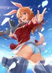 1girl :d absurdres animal_ears ass blue_eyes blue_panties blue_sky charlotte_e_yeager clouds commentary_request gun hair_between_eyes highres holding holding_gun holding_weapon jacket long_hair long_sleeves looking_at_viewer michairu open_mouth orange_hair panties rabbit_ears red_jacket sky smile solo strike_witches striker_unit tail thighs underwear weapon world_witches_series