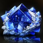 black_background bubble cluseller commentary_request crystal cube light_particles no_humans original reflection sapphire_(gemstone) shiny simple_background still_life
