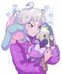 1boy ahoge bangs bede_(pokemon) closed_mouth coat commentary_request curly_hair eyelashes frown gen_5_pokemon gen_8_pokemon gothita grey_hair hatenna heart highres holding holding_pokemon long_sleeves male_focus pokemon pokemon_(creature) pokemon_(game) pokemon_swsh purple_coat sketch solosis thxzmgn translation_request watch watch