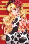 1girl 2021 absurdres alternate_costume animal_print bangs blonde_hair cow_print earrings ereshkigal_(fate/grand_order) fate/grand_order fate_(series) flower furisode hair_flower hair_ornament hair_ribbon highres hoop_earrings infinity japanese_clothes jewelry kimono long_hair monty1024 obi orange_eyes parted_bangs print_kimono red_nails red_ribbon ribbon sash smile solo tiara two_side_up very_long_hair white_kimono wide_sleeves