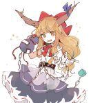 1girl belt black_skirt blue_ribbon blush_stickers bow bowtie brown_eyes brown_hair chain commentary_request cube fangs gourd hair_bow hands_up horn_ornament horn_ribbon horns ibuki_suika long_hair looking_at_viewer mozukuzu_(manukedori) open_mouth purple_skirt red_bow red_neckwear ribbon shirt simple_background skirt sleeveless sleeveless_shirt smile solo touhou white_background white_shirt wrist_cuffs