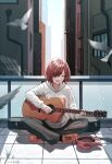 acoustic_guitar baseball_cap bird black_pants building closed_eyes day drawstring full_body grey_hoodie guitar guitar_case hair_over_one_eye hat hat_removed headwear_removed highres higuchi_madoka hood hood_down hoodie idolmaster idolmaster_shiny_colors instrument instrument_case junshiki long_sleeves mole mole_under_mouth music on_floor open_mouth orange_footwear outdoors pants playing_instrument railing red_headwear redhead shoes short_hair signature singing sitting sunlight tile_floor tiles