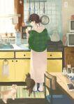 1girl absurdres black_hair bottle cat cellphone chair counter dress from_behind glasses hair_bun highres hood hood_down inoue_haruka_(haruharu210) kettle long_sleeves original phone profile sink solo standing table white_dress wide_shot window
