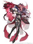 1girl absurdres belt book breasts clothing_cutout dark_blue_hair dark_persona earrings empty_eyes full_body hair_over_one_eye half-nightmare highres jewelry ji_no kaguya_hime_(sinoalice) large_breasts long_hair looking_at_viewer navel_cutout official_art pale_skin parted_lips platform_footwear red_eyes sinoalice solo square_enix thigh-highs white_background