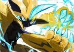 1boy animal_ears animal_nose arms_up artist_name black_fur blue_eyes blue_fur body_fur cat_boy cat_ears claws closed_mouth commentary_request english_commentary gen_7_pokemon half-closed_eyes highres ikei legendary_pokemon male_focus mixed-language_commentary mythical_pokemon outstretched_arms partial_commentary pawpads pokemon pokemon_(creature) signature simple_background sketch solo standing whiskers white_background yellow_fur zeraora