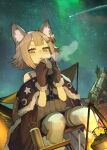 1girl animal_ear_fluff animal_ears bangs blunt_bangs campfire cup dutch_angle earrings gloves grey_eyes grey_hair hair_ornament hairclip hide_(hideout) highres jewelry looking_at_viewer mug original shooting_star short_hair sitting solo stargazing telescope thick_eyebrows thigh-highs white_legwear