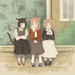 1girl absurdres animal_ears bangs black_footwear black_hair black_shirt black_skirt blonde_hair blue_footwear blunt_bangs building cardigan cat_ears cat_girl cat_tail collared_shirt crossed_arms food grey_skirt grey_vest hand_up highres holding holding_food inoue_haruka_(haruharu210) long_skirt long_sleeves medium_hair original pantyhose plant red_cardigan red_footwear sandwich shirt shoes short_hair sitting skirt socks solo tail tree vest white_legwear white_shirt white_skirt wide_shot