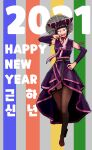1girl 2021 black_hair blush brown_legwear commentary constricted_pupils detached_sleeves dress english_commentary fang finger_to_mouth full_body garter_straps han_juri hanbok hand_on_hip happy_new_year hat highres jewelry korean_clothes lineni long_dress looking_at_viewer new_year obi purple_dress purple_sleeves red_ribbon ribbon ring sash short_hair solo standing straw_hat street_fighter thigh-highs traditional_clothes violet_eyes