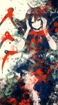 1girl abstract abstract_background asymmetrical_wings bare_legs black_dress black_hair bow dress flat_color hands_up highres houjuu_nue large_bow looking_at_viewer medium_hair meola multicolored multicolored_background paint_splatter red_bow red_eyes smile snake solo touhou wings
