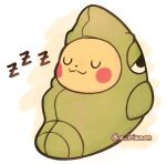 :3 a_irismon artist_name closed_eyes closed_mouth commentary english_commentary gen_1_pokemon metapod metapod_sleeping_bag pikachu pokemon sleeping sleeping_bag smile watermark zzz
