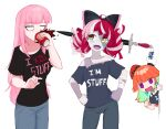 3girls :d bandaged_arm bandages black_bow black_shirt bow brand_name_imitation choker clothes_writing colored_inner_hair colored_skin commentary contrapposto denim diamond-shaped_pupils diamond_(shape) double_bun dr_pepper drinking english_commentary english_text green_choker green_eyes green_hair grey_pants grey_shirt grey_skin hair_bow hat heterochromia highres hololive hololive_indonesia impaled jeans jitome kureiji_ollie long_hair looking_at_another looking_to_the_side mori_calliope multicolored multicolored_hair multicolored_skin multiple_girls off-shoulder_shirt off_shoulder open_mouth orange_hair pants patchwork_skin pink_hair pointing pointing_at_self red_headwear redhead ribbon_choker shirt short_sleeves sideways_glance signature simple_background smile stitched_arm stitched_face streaked_hair sword symbol-shaped_pupils takanashi_kiara violet_eyes virtual_youtuber weapon white_background wide_sleeves x_x yellow_eyes yoako zombie