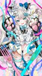 :d aano_(10bit) absurdres animal_ear_fluff animal_ears asymmetrical_horns bangs black_gloves black_kimono black_panties blue_bow blue_ribbon blush bone_horns bone_tail bow cat_ears character_name dated eyebrows_behind_hair fangs gloves hair_bow hands_up happy_birthday highres honemi_mukuro horns indie_virtual_youtuber japanese_clothes kimono looking_at_viewer maid_headdress official_art open_mouth panties paw_gloves paws petals pink_background pink_ribbon ribbon silver_hair skeleton smile standing striped underwear virtual_youtuber white_bow yagasuri