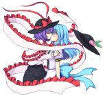 2girls blue_hair blush closed_eyes gomi_(gomitin) hagoromo hat hat_removed headwear_removed hinanawi_tenshi kiss long_hair multiple_girls nagae_iku purple_hair red_eyes shawl short_hair simple_background touhou white_background yuri