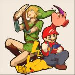 2boys 2others animal blonde_hair blue_eyes earrings facial_hair gloves hat hoshi_no_kirby jewelry kirby kirby_(series) kirby_(specie) link mario mouse mustache nintendo_3ds pikachu pointy_ears pokemon pokemon_(creature) super_mario_bros. super_smash_bros. super_smash_bros_64 the_legend_of_zelda the_legend_of_zelda:_ocarina_of_time yamakaji