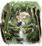 1girl branch closed_eyes facepaint forest fur highres jewelry jumping kodama kuei-hua leaf mononoke_hime nature necklace reflection rock san short_hair skirt tree water