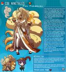1boy 1girl animal_ears artist_name beads bell bell_collar blonde_hair breasts collar dark_skin dark_skinned_female english_commentary fox_ears fox_tail gen_1_pokemon geta hat highres hitodama japanese_clothes kimono kinkymation kitsune large_breasts lipstick magatama makeup ninetales obi one_eye_covered personification pipe pokemon prayer_beads purple_hair red_eyes red_lipstick sash smoke tail thigh-highs white_legwear